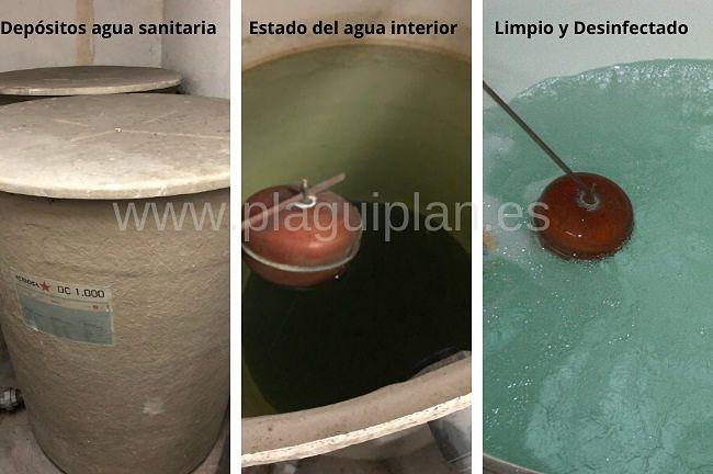 Desinfección de depósitos de agua sanitaria en comunidad de vecinos plaguiplan